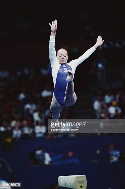 English artistic gymnast Emma Williams pictured in action competing for Great Britain on the balance beam during competition to finish in 10th place...