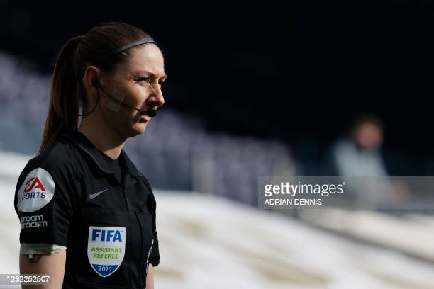 English assistant referee Sian Massey-Ellis looks on during the English Premier League football match between Tottenham Hotspur and Manchester United...