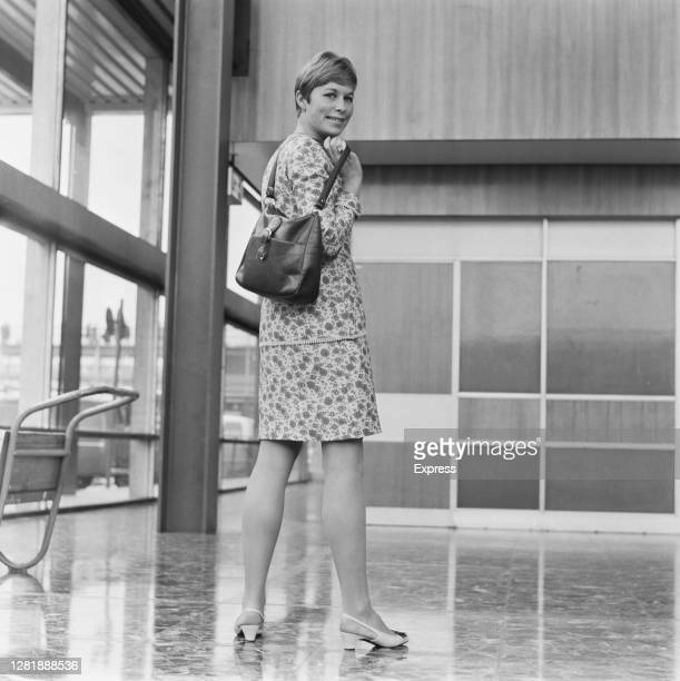 English athlete Mary Rand leaving London Airport for the USA, 21st July 1966. She will be competing in the British Empire and Commonwealth Games in...