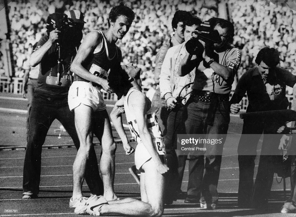 English athlete Sebastian Coe after securing the gold medal in the 1500 metres at the Olympic Games at Moscow.