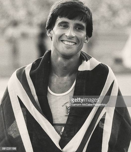 British athlete Sebastian Coe after winning the 1500 metres title at the Los Angeles Olympics in 1984