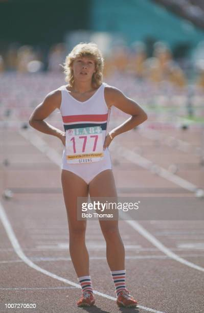 English athlete Shirley Strong of the Great Britain team pictured during competition to finish in 2nd place to win the silver medal in the Woman's...