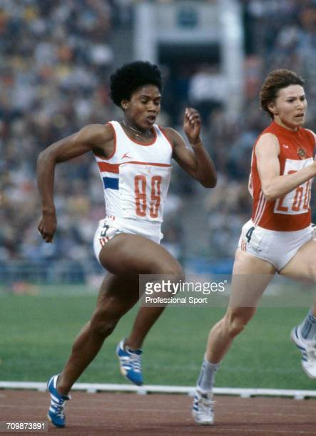 English athlete Sonia Lannaman competes for the Great Britain team to reach the final of the Women's 200 metres event and the semi finals of the...