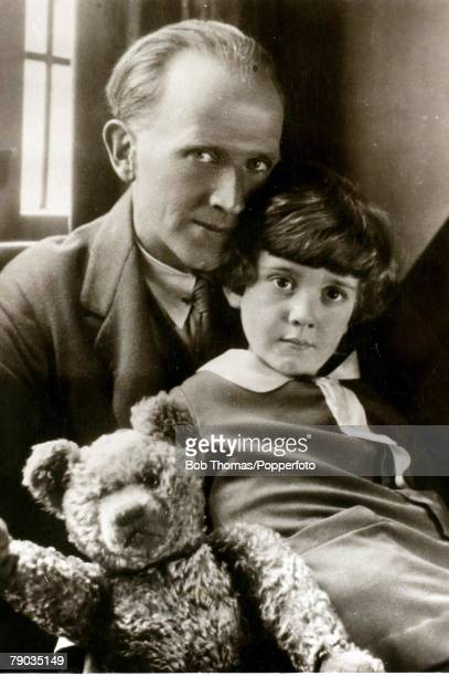 Literature Circa 1930 English author AA Milne is pictured with his son Christopher Robin and Winnie the Pooh