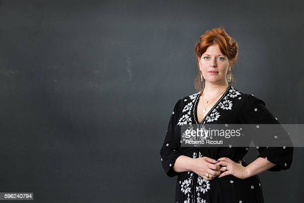 English author academic and journalist Sarah Perry attends a photocall at Edinburgh International Book Festival at Charlotte Square Gardens on August...