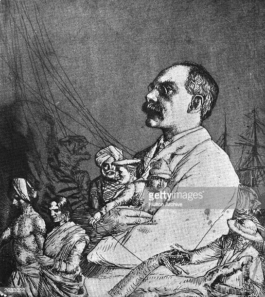 English author and poet Rudyard Kipling in a cartoon showing him as puppet-master with the puppets representing people of Indian origin. Original...