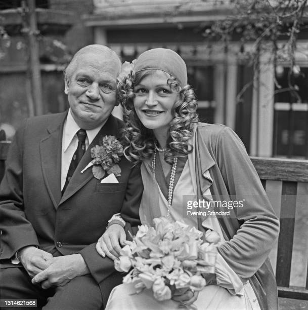 English author and poet Sir John Waller, the 7th Baronet marries Anne Eileen Mileham, UK, 3rd April 1974.