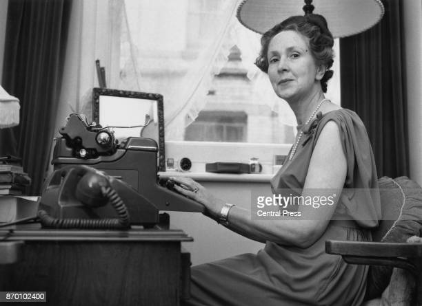 English author Eleanor Hibbert who writes under the pen name Victoria Holt amongst others at her typewriter circa 1965
