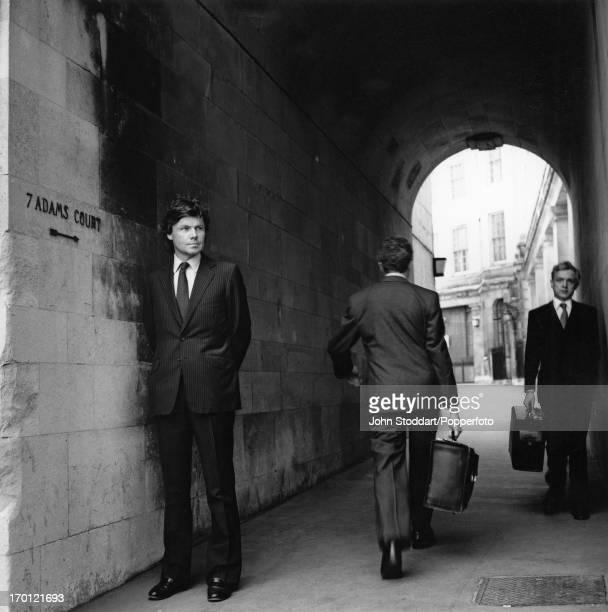 English author historian and Conservative MP Rupert Allason in Adams Court London circa 1990