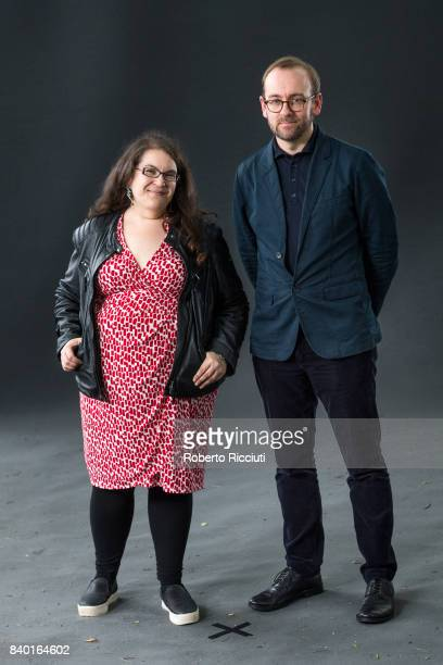 English author novelist and game designer Naomi Alderman and journalist and writer Philip Miller attend a photocall during the annual Edinburgh...