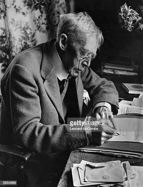 English author Sir Arthur QuillerCouch at his home at Fowey Original Publication Picture Post 1609 'Q' Provides Our Christmas Reading pub 1943