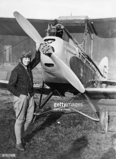 English aviator Amy Johnson standing in front of her Gipsy Moth just before she undertook a 19 day solo flight to Australia 5th May 1930