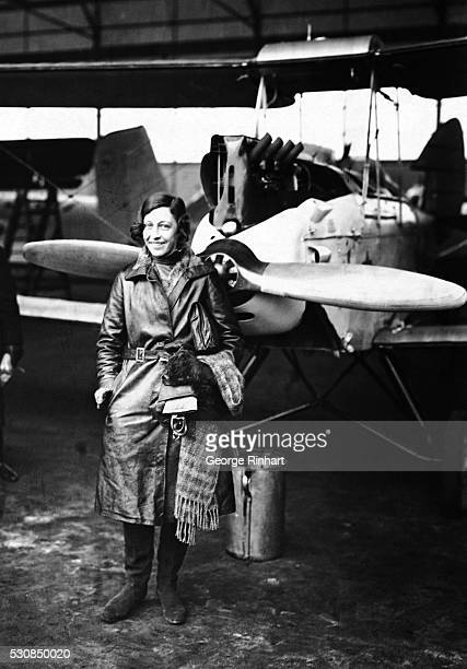 English aviatrix Amy Johnson shown at a landing in Berlin She was the first woman to make a solo flight from London to Australia in 1930 She drowned...