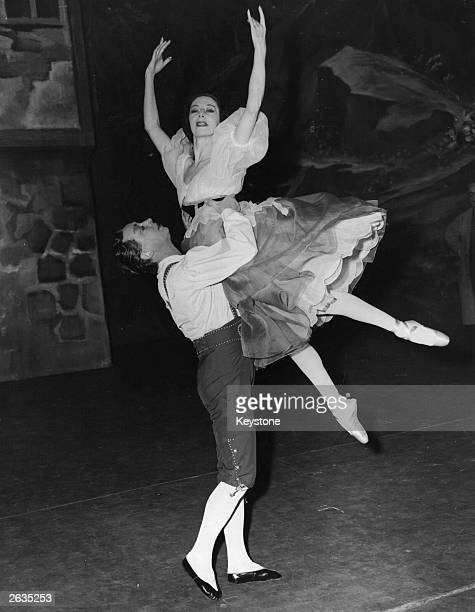 English ballerina Alicia Markova rehearsing with Danish dancer Borge Ralov at Drury Lane for her forthcoming appearance in the opera 'William Tell',...