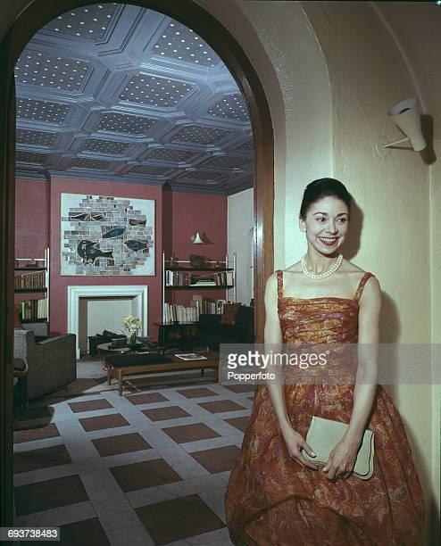 English ballerina Dame Margot Fonteyn pictured at home in London in 1961