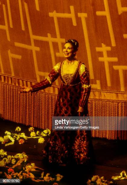 English ballerina Dame Margot Fonteyn takes a bow after her performance in La Scala Opera Ballet production of 'Romeo and Juliet' at Lincoln Center's...