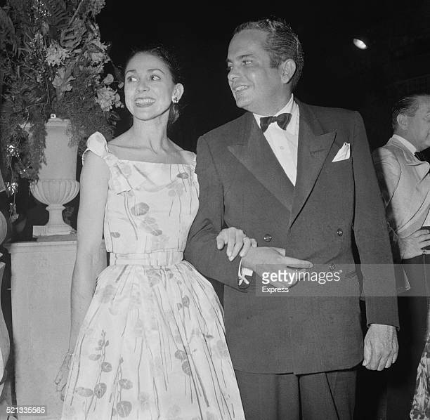 English ballerina Margot Fonteyn and her husband Panamanian lawyer and journalist Roberto Arias attend a ball in Monte Carlo Monaco 4th August 1958