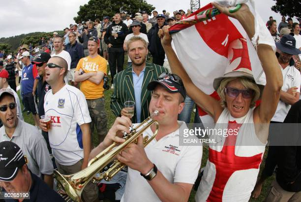 English 'Barmy Army' supporters sing during day four of the second test match between New Zealand and England at the Basin Reserve Wellington on...