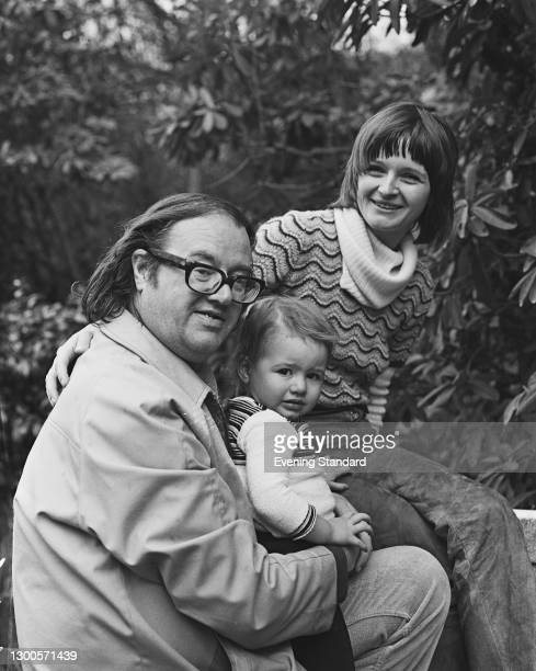 English barrister and screenwriter John Mortimer with his second wife Penelope, née Gollop, and their daughter Emily , UK, 18th April 1973.
