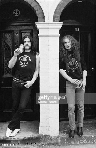 English bassist and singer Ian 'Lemmy' Kilmister and 'Fast' Eddie Clarke of heavy rock group Motorhead 1982