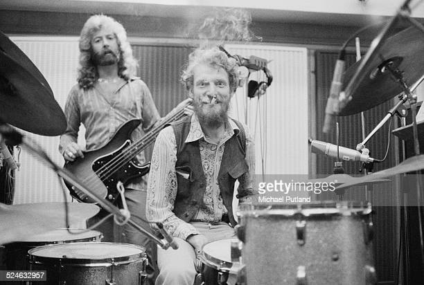 English bassist and singer Paul Gurvitz and drummer Ginger Baker, of rock group the Baker Gurvitz Army, in a studio, August 1974.