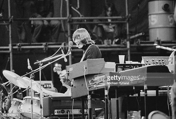 English bassist and singer Roger Waters performing with Pink Floyd at the Knebworth Festival Knebworth House Hertfordshire 5th July 1975