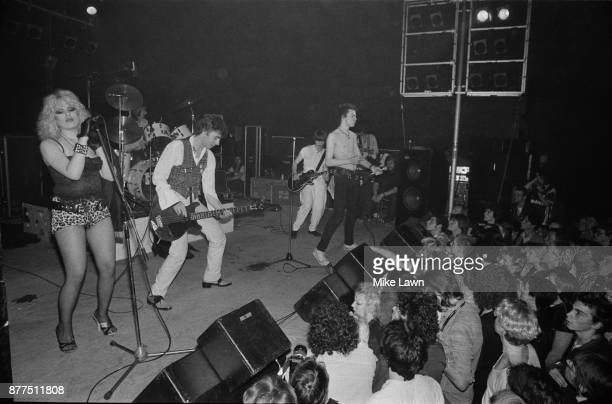 English bassist and singer Sid Vicious performs with the Vicious White Kids at Electric Ballroom London UK 15th August 1978 From left to right Nancy...