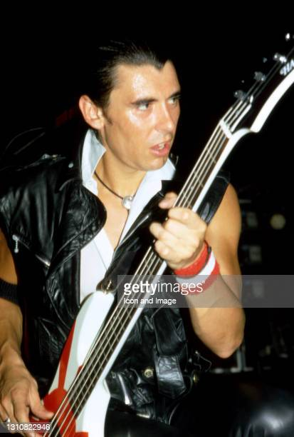 English bassist Pete Farndon , of the English-American rock band The Pretenders, plays on stage during The Pretenders II Tour on August 18, 1981 at...