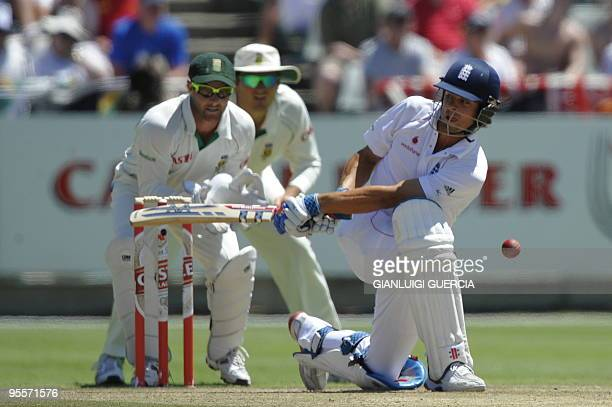 English batsman Alastair Cook plays a shot on January 4, 2010 during the second day of the third Test match between South Africa and England at the...