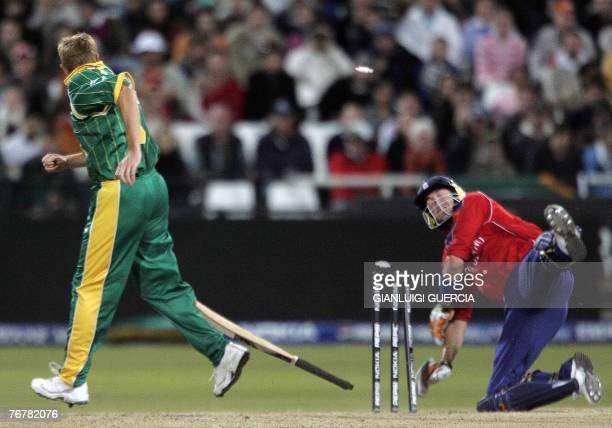 English batsman Kevin Pietersen is run out, 16 September 2007, by South African bowler Shaun Pollock during the Twenty20 cricket world championship...