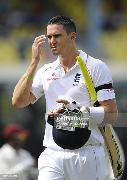English batsman Kevin Pietersen leaves the field after being bowled by West Indies bowler Ryan Hinds, during the first day of the last test match...