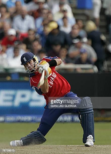 English batsman Kevin Pietersen plays a shot, 14 September 2007, during the Twenty20 cricket world championship match between England and Zimbabwe at...
