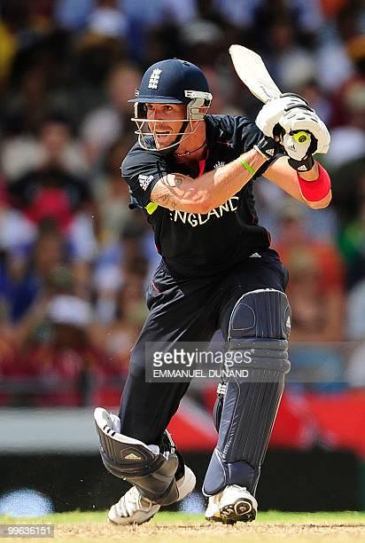 English batsman Kevin Pietersen plays a shot during the Men's ICC World Twenty20 final match between Australia and England at the Kensington Oval...