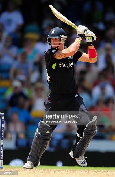 English batsman Kevin Pietersen plays the winning run during the ICC World Twenty20 Super Eight match between England and Pakistan at the Kensington...