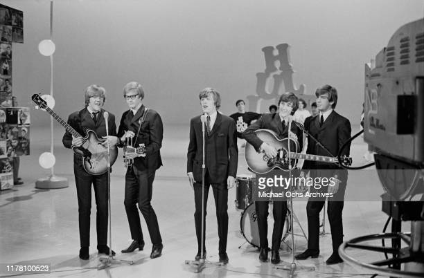 English beat rock band Herman's Hermits appear on the NBC musical variety series 'Hullabaloo' 1965 From left to right bass player Karl Green...