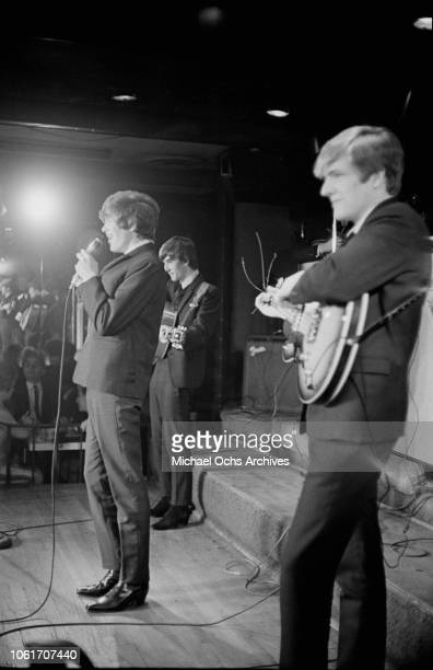 English beat rock band Herman's Hermits perform at the Peppermint Lounge in New York City circa 1965 From left to right they are singer Peter Noone...