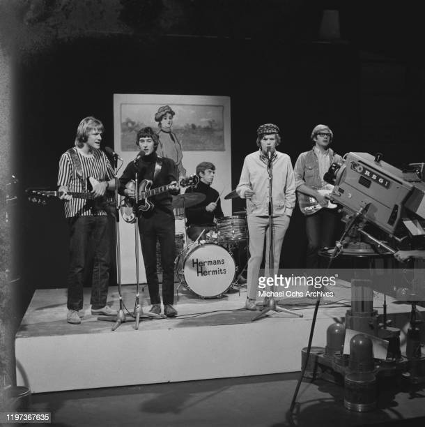 English beat rock band Herman's Hermits perform on the British music television programme 'Ready Steady Go' at Wembley Studios in London UK 17th June...