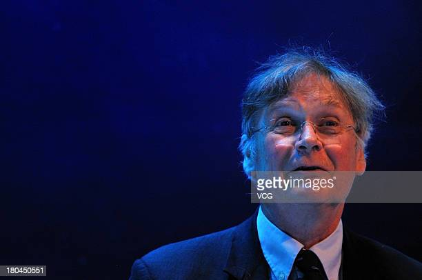 English biochemist Tim Hunt speaks during a session at the World Economic Forum Annual Meeting of the New Champions at Dalian international...