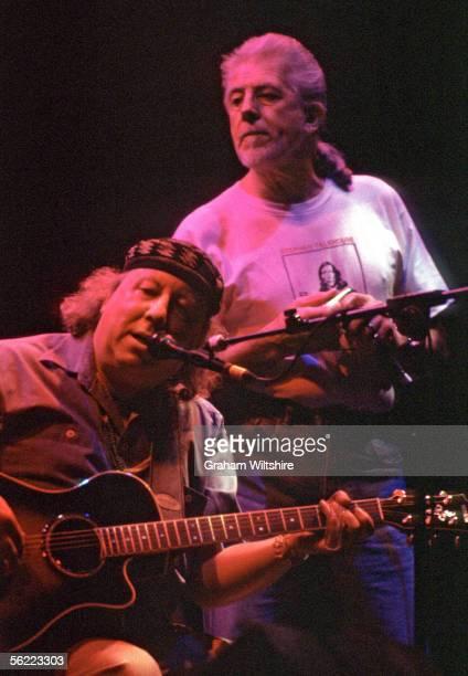 English blues guitarist and former member of Fleetwood Mac Peter Green performing with British bluesrock singer and guitarist John Mayall at the...