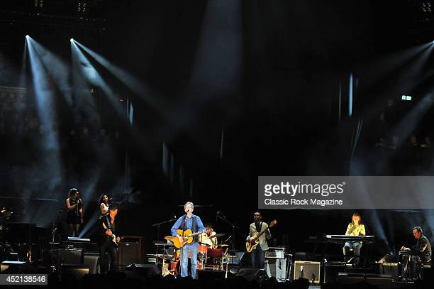 English blues rock musician Eric Clapton performing live on stage with his band at the Royal Albert Hall in London on May 17 2013