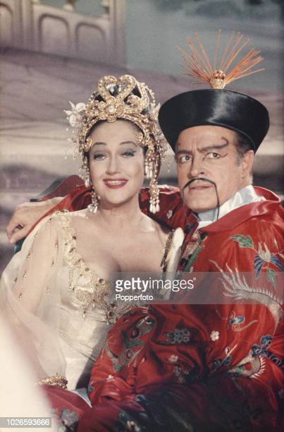 English bon American actor Bob Hope pictured dressed in character as Chester Babcock with American actress Dorothy Lamour during production of the...