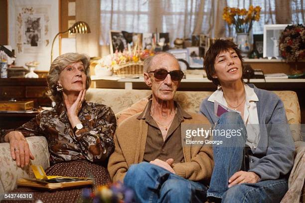 English born actress and singer Jane Birkin with her mother actress Judy Campbell and her father David Birkin on the movie set of Jane B par Agnès V...