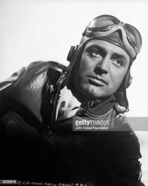 English born American film star Cary Grant dressed as a pilot during the making of 'Only Angels Have Wings'