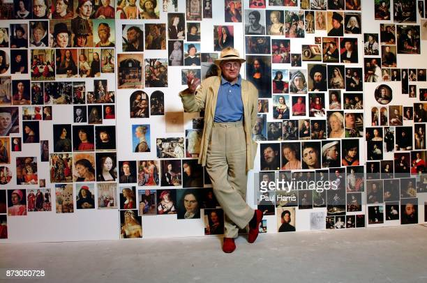 English born artist David Hockney stands in from of a wall of ' Great Masters' paintings The wall was put together as part of his study in the use of...