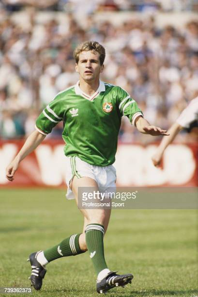 English born footballer and defender with the Republic of Ireland national football team Chris Morris pictured in action for the Republic of Ireland...