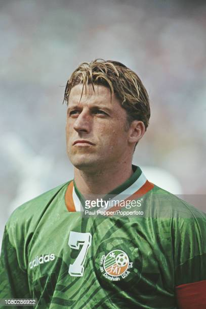 English born professional footballer Andy Townsend, midfielder with Aston Villa, pictured lining up on the pitch prior to playing for the Republic of...