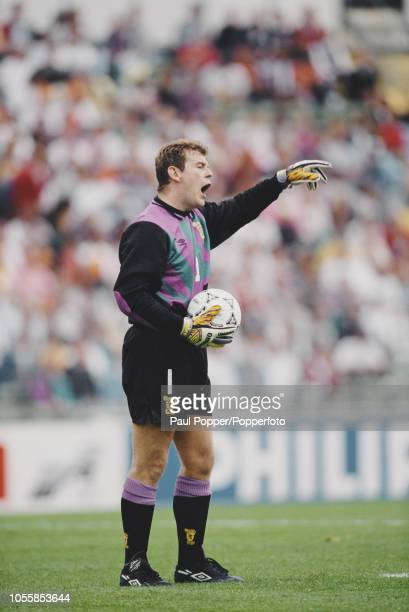 English born Scottish professional footballer Andy Goram goalkeeper with Rangers FC pictured in action playing for the Scotland national team in...
