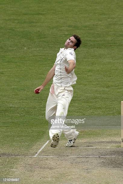 English bowler James Anderson playing South Australia in the Final Day of their last Tour Match before the beginning of the Ashes at Adelaide Oval in...