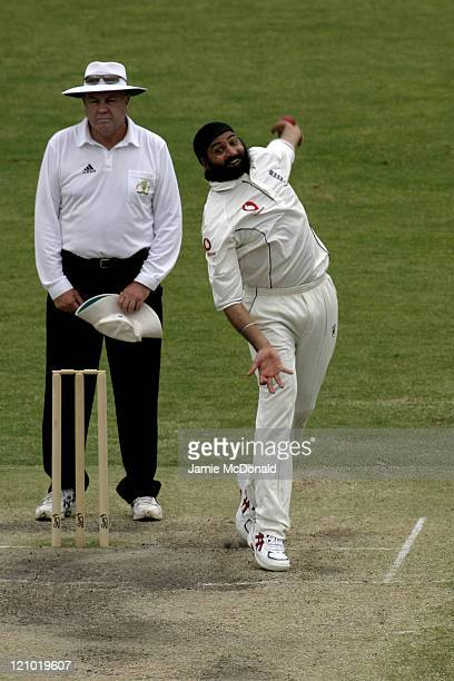 English bowler Monty Panesar playing South Australia in the Final Day of their last Tour Match before the beginning of the Ashes at Adelaide Oval in...