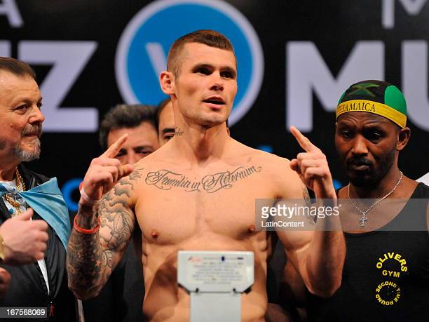 English boxer Martin Murray gestures during the weigh in at Buenos Aires Sheraton Hotel prior to the WBC middleweight world championship combat on...